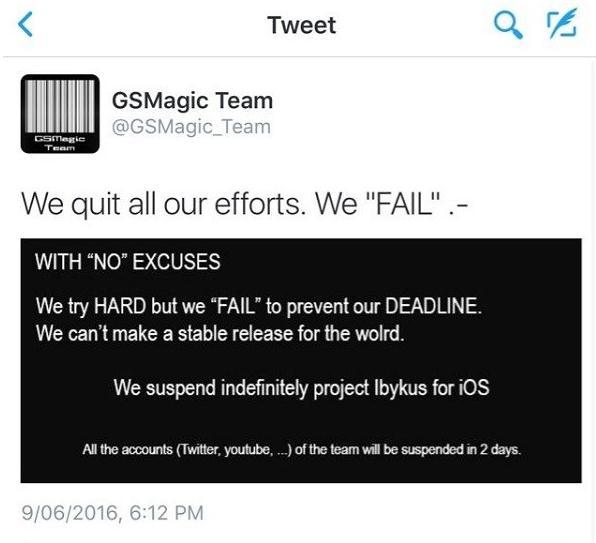 ios9.3.2越狱最新消息:知名越狱团队GSMagic放弃iOS 9.3.X版本[图]
