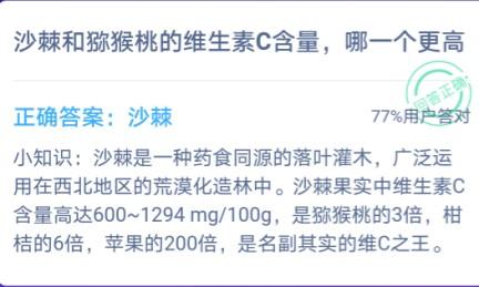 螞蟻莊園沙棘獼猴桃哪個vc高 小雞寶寶考考你沙棘和獼猴桃的維生素C含量[多圖]